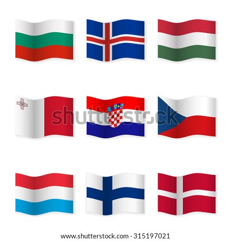 Waving flags of different countries. Flag icons on white background. Vector content. 3D waving position with shadow. Each flag is isolated on its own layer with the proper name. Set  6. - stock vector