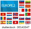 "Waving Flags of European Countries - Part 2. Design ""Waves"". One of the Flags of the World series. - stock photo"