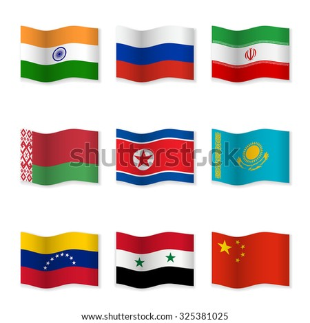 Waving flags of Russian ally countries. Flag icons on white background. Vector content. 3D waving position with shadow. Each flag is isolated on its own layer with the proper name. - stock vector