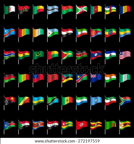 Waving Flags of the world, part 6/6 Africa Dynamic - stock vector