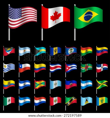 Waving Flags of the world, part 1/6 American continents Dynamic - stock vector