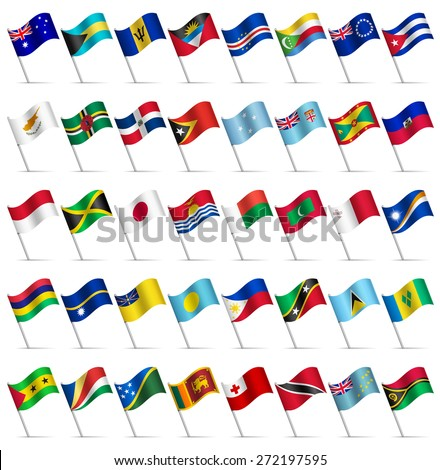 Waving Flags of the world, part 4/6 Islands - stock vector