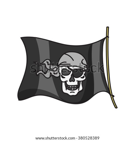 waving pirate flag jolly roger on white background - stock vector
