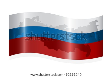 Waving russian flag with map of the Russian Federation. Vector-Illustration