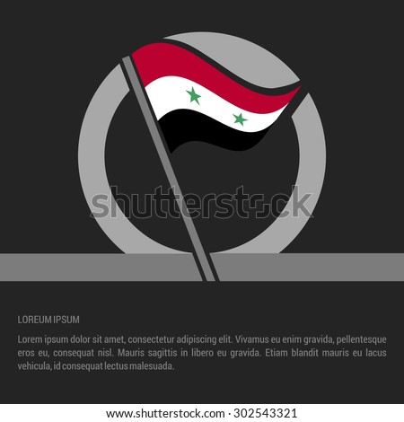 Waving Syria Flag badge design - independence day Label - Vector illustration - stock vector