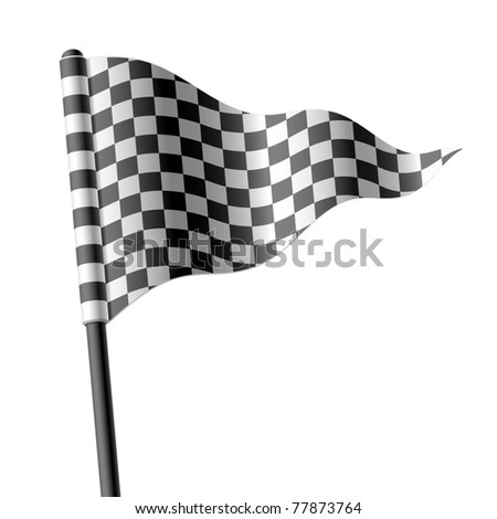Waving triangular checkered flag. Vector. - stock vector
