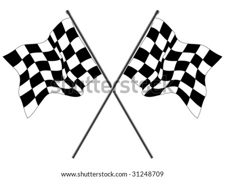 Wavy checkered flags - stock vector