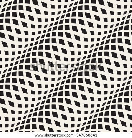 Wavy crossed stripes seamless pattern 3D. Abstract fashion texture. Geometric monochrome template. Graphic style for wallpaper, wrapping, fabric, background, apparel, prints, website, blog etc. Vector - stock vector