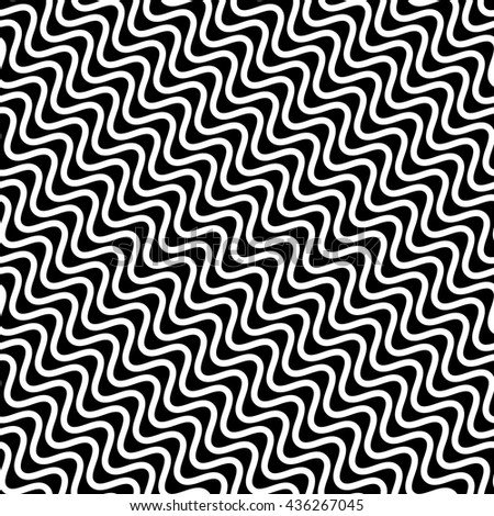 Wavy diagonal parallel lines. seamless, repeatable monochrome pattern. Vector