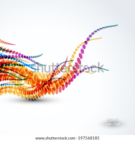 Wavy dotted lines abstract background illustration