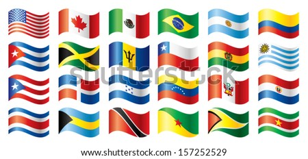 Wavy flags set - America. 24 flags. JPEG version - stock vector
