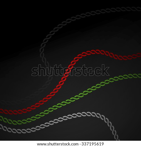 Wavy graphic chain in UAE flag colors. Strength of unity - a concept. - stock vector