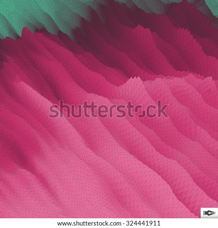 Wavy Grid Background. Mosaic. 3d Abstract Vector Illustration.  - stock vector