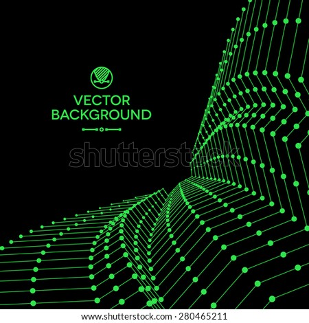 Wavy grid made of connected dots with green wires - stock vector