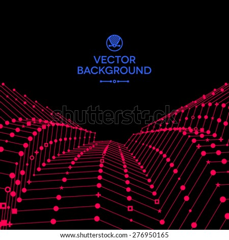 Wavy grid made of connected dots with ideographic signs. - stock vector