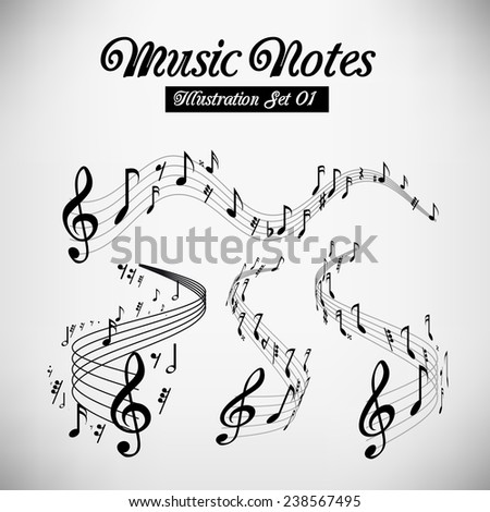 Wavy music staves. Vector set on light grey background - stock vector