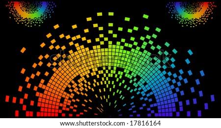 Wavy Pixels - stock vector