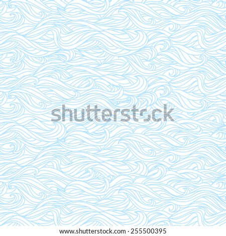 Wavy Seamless Texture. Abstract Light Blue and White Pattern - stock vector