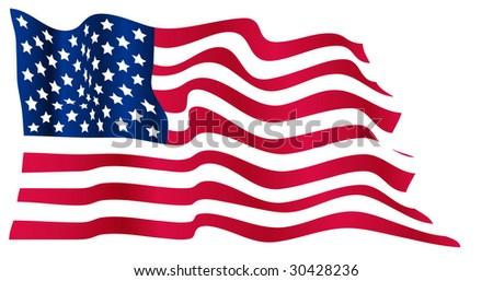 Wavy US flag - stock vector