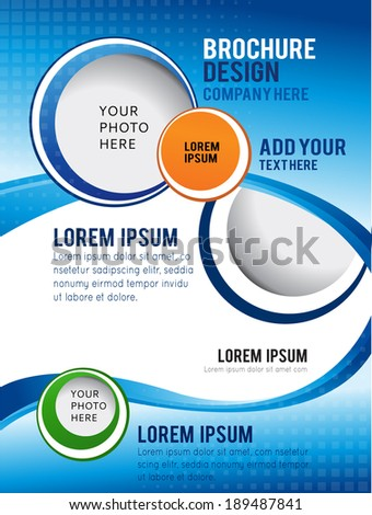 Wawe background with bubbles - brochure design or flyer - stock vector