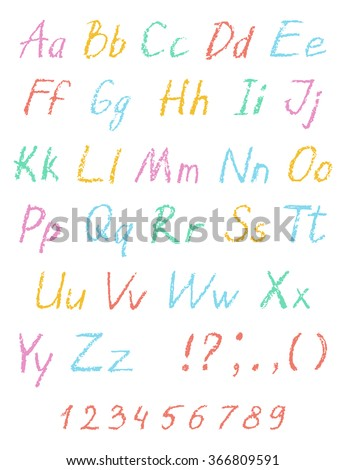 Wax crayon child's drawing alphabet. Pastel chalk font. ABC drawing letters. Kids drawn colorful alphabet. Vector. - stock vector
