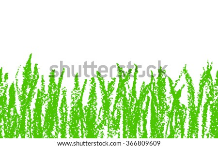 Wax crayon hand drawn green grass isolated on white. Seamless kid`s drawn background banner. Vector pastel chalk copyspace design element. - stock vector