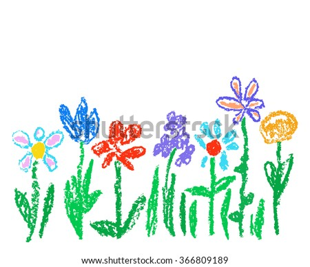 Wax crayon kid`s drawn colorful flowers isolated on white. Child`s drawn pastel chalk blooming flowers set. Cute of kid`s painting spring flowering meadow. Vector hand drawing background banner. - stock vector