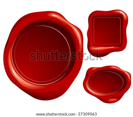 wax letter seal - stock vector