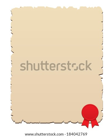 Wax seal with old paper - stock vector