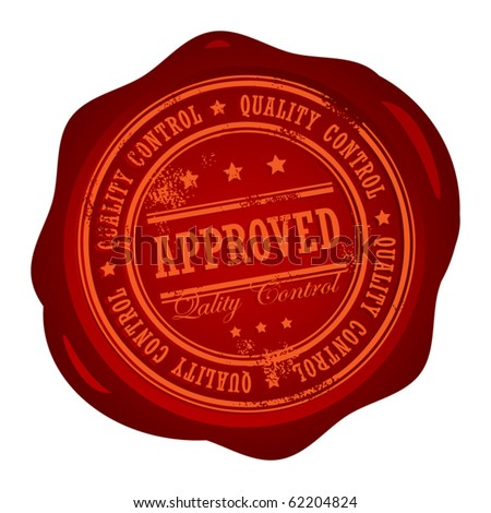 Wax seal with small stars and the word Approved Quality Control inside, vector illustration - stock vector