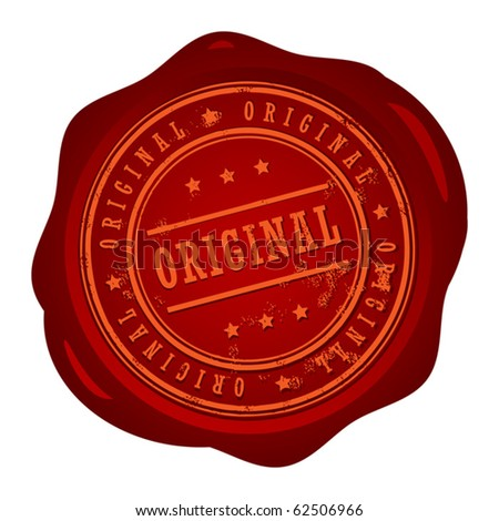 Wax seal with small stars and the word Original, vector illustration