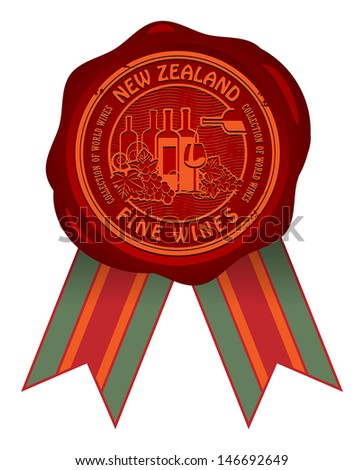 Wax seal with the words New Zealand, Fine Wines, vector illustration - stock vector