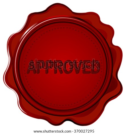 Wax seal with word APPROVED on it - stock vector
