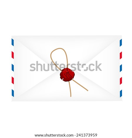 Wax sealed letter envelope vector isolated on white - stock vector