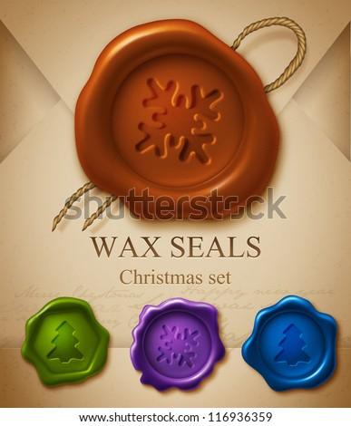 Wax seals. Christmas set - stock vector
