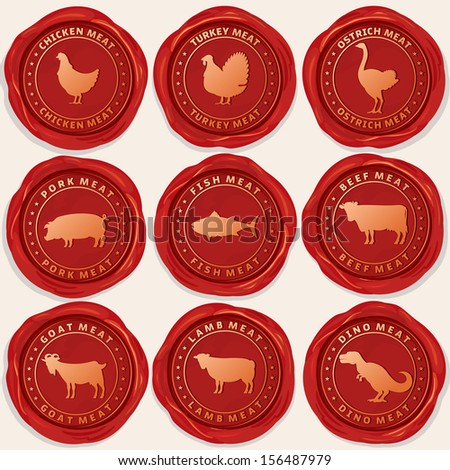 Wax Seals with Picture of Animals Used for Food From the Meat Industry. Set include: Chicken, Turkey, Pig, Fish, Cow, Goat, Lamb and Ostrich Icons. - stock vector