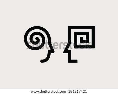 Way of thinking man and woman. Set of icons - stock vector