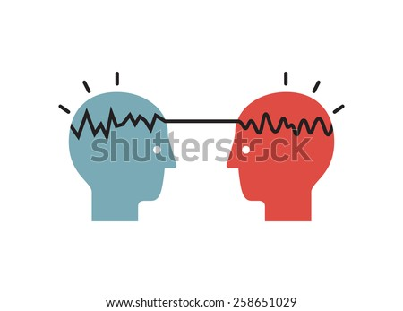Way of thinking man and woman. Vector illustration. - stock vector
