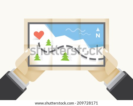 Way to Love treasure map with heart in human hands. Idea - Way to love, Valentines day concept. - stock vector