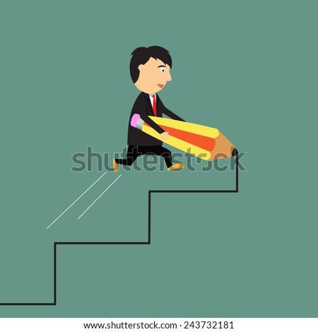 Way to success concept, Business of opportunity, businessman drawing career ladder with pencil, cartoon vector illustration - stock vector