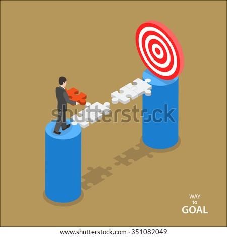 Way to the goal isometric flat vector concept. Man in suit walks to set missing part of bridge between him and goal. - stock vector