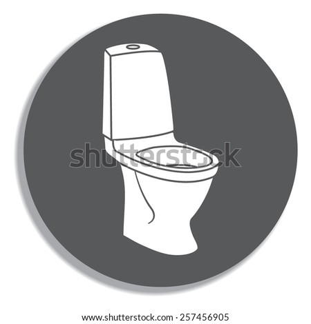 WC bathroom toilet on a grey background - stock vector