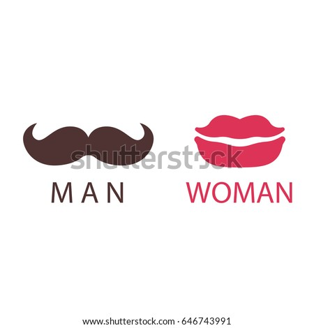 wc icon lips and mustache - toilet sign in pure funny style - toilet door vector symbol