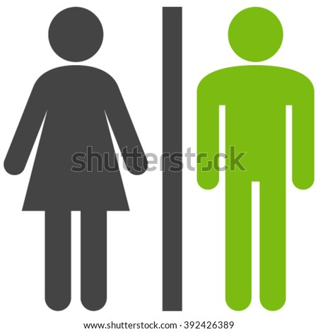 WC Persons vector icon. WC Persons icon symbol. WC Persons icon image. WC Persons icon picture. WC Persons pictogram. Flat eco green and gray WC persons icon. Isolated WC persons icon graphic. - stock vector
