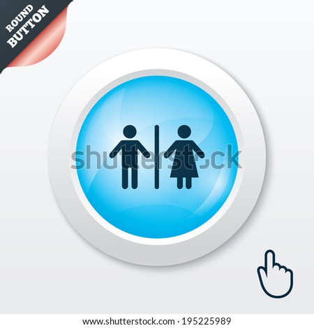 WC sign icon. Toilet symbol. Male and Female toilet. Blue shiny button. Modern UI website button with hand cursor pointer. Vector - stock vector