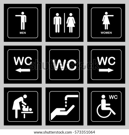 wc toilet door plate icons set stock vector royalty free 573351064