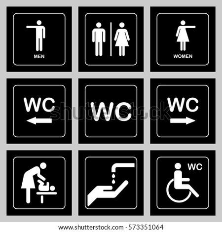wc toilet door plate icons set stock vector 573351064. Black Bedroom Furniture Sets. Home Design Ideas