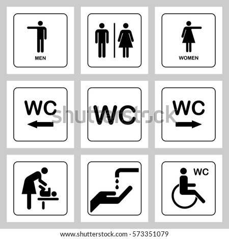 WC / Toilet door plate icons set. Men and women WC sign for restroom. Bathroom plate.