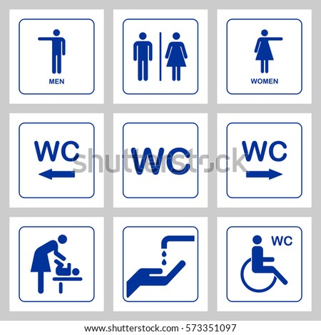 wc toilet door plate icons set stock vector royalty free 573351097
