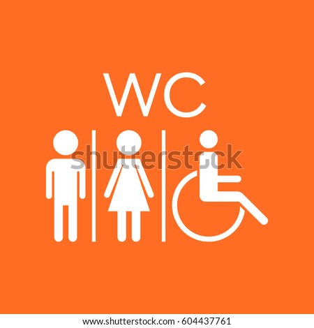 WC, toilet flat vector icon . Men and women sign for restroom on orange background.